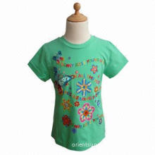 Girls' T-shirt, 100% cotton, colorful embroidery and print details with beads, sequins, yarns